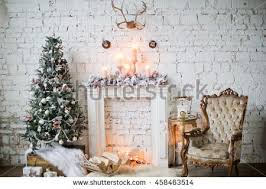 vintage decorations christmas tree vintage decorations near fireplace stock photo