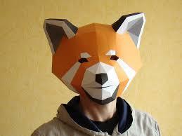 Halloween Paper Masks Printable by Red Panda Mask Papercraft Diy Pdf Template Printable Mask