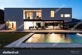 modern villa modern villa pool night scene stock photo 145154056 shutterstock
