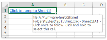 how to create hyperlink in a cell to another sheet in the same