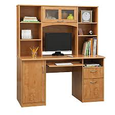 realspace landon desk with hutch realspace landon desk with hutch oak by office depot officemax