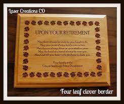 retirement plaques retirement plaque 8 x 10 4leaf clover border
