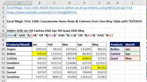 excel magic trick 1308 concatenate items in rows u0026 columns from