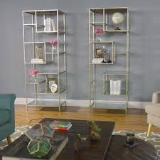 burnished metal and glass asymmetrical kali shelf world market