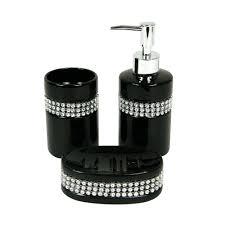 bathroom accessories home decor black diamante pink bling