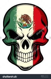 mexico flag painted on a skull stock vector illustration 155997473