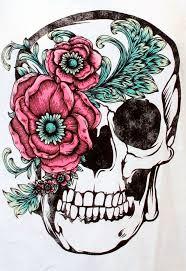skull flower drawing sugar skull flower pencil and in color