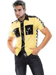 Halloween Costume Race Car Driver Men U0027s Halloween Costume Race Car Driver Yellow Plaid Short Sleeve