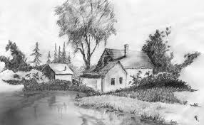 drawn scenery senery pencil and in color drawn scenery senery