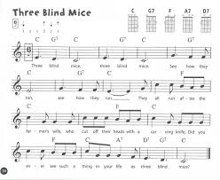 Three Blind Mice Piano Notes Ukulele From The Beginning Songbook 2 Pupil U0027s Book Presto