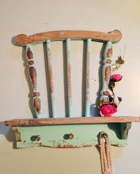 vintage chair shelf farmhouse wall unit hook rack shabby chic