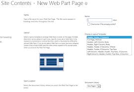 development sharepoint 2013 site content u003e new webpart page