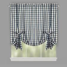willow branch farmhouse country check tie up window shades set