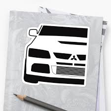 mitsubishi sticker mitsubishi lancer evo close up zoom corner sticker tee design