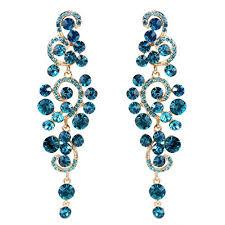 women s blue chandelier earrings