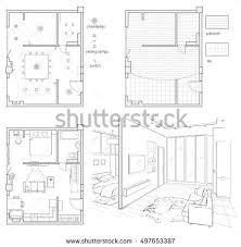 Floor Plans With Furniture Black White Drawing Sketch Floor Plan Stock Illustration 438046360