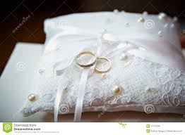 wedding pillow rings gold wedding ring on pillow with pearl stock photo image of