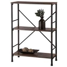 mixed material 2 shelf bookcase brown threshold target