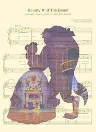 beauty beast library sheet music art print