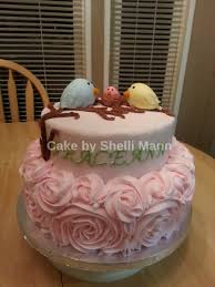 rose swirl baby shower cake with birds cakecentral com