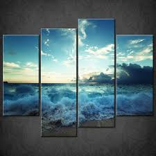 canvas print picture ocean waves sunset split wall art