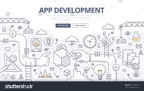 doodle design concept mobile application development stock vector