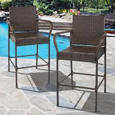Outside Patio Chairs Best Choice Products Set Of 2 Outdoor Brown Wicker Barstool