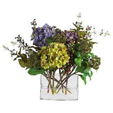 silk flower arrangements nearly natural mixed hydrangea with rectangle vase silk flower