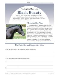 middle main idea worksheet about black beauty