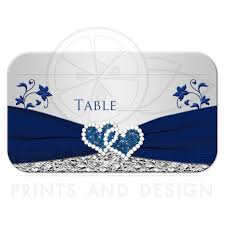 silver and royal blue wedding wedding place card or escort card flat navy blue silver gray