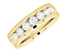 Circle Diamond Wedding Ring by 14k Yellow Gold One Row Round Diamond Comfort Fit Engagement