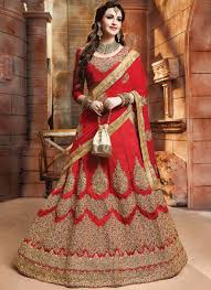 15551 by Red Lace Work Lehenga Choli