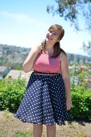 thrifted red striped tank top polka dot skirt room 334