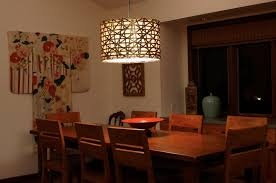 modern lighting for dining room appealing kimono wall art in minimalist dining space with teak