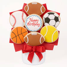 Decorated Gourmet Cookies Happy Birthday Sports Cutout Cookie Bouquet Say
