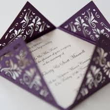 floral purple square laser cut wedding invitation vintage