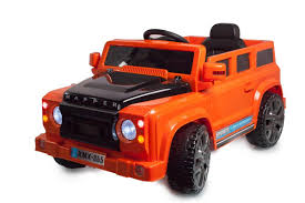 orange jeep defender 4x4 off road 12v electric jeep orange