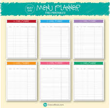 printable menu planner template printable meal and menu planner live craft eat a menu planner specifically for those crazy busy days free printables to help you