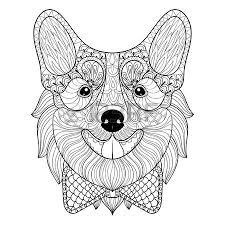 dog face monochrome doodle style puppy pembroke welsh corgi
