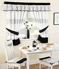 Kitchen Curtains Uk by Deco Kitchen Curtains Black White 46x48 Inc Tie Backs Amazon Co