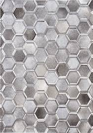 Patchwork Area Rug Madisons Gray Cowhide Area Rug 3d Hexagon Pattern Cowhide
