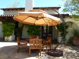 Outdoor Patio Furniture Ideas Furniture Brown Cantilever Umbrella With Black Iron Base For