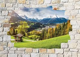 decoration murale montagne stickers mural trompe l u0027oeil pierre déco montagne art déco stickers