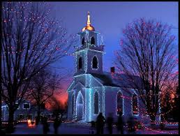 Church Lights Religious Little Blue Church Lights Night Christmas Time Trees