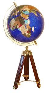 bureau trepied globe terrestre de bureau 33 cm bleu navy trépied bois gemmoglobe