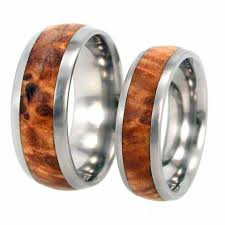 wood rings wedding wood ring wedding band titanium ring black ash burl wood inlay