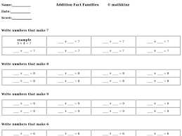 addition addition subtraction fact family worksheets 3rd grade