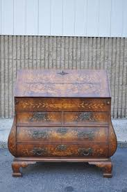 Bombe Secretary Desk by 18th Century Dutch Marquetry Inlaid Drop Front Desk Bombe Commode