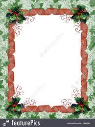 christmas border ribbons and holly illustration
