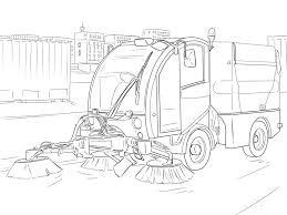 street sweeper truck coloring page transportation free print